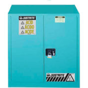 "Justrite 30 Gallon 2 Door, Self-Close, Acid Corrosive Cabinet, 43""W x 18""D x 44""H, Blue"