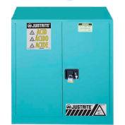 """Justrite 30 Gallon 2 Door, Self-Close, Acid Cabinet, 43""""W x 18""""D x 44""""H, Blue"""
