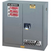 "Justrite 30 Gallon 2 Door, Self-Close, Flammable Cabinet, 43""W x 18""D x 44""H, Gray"