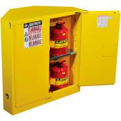 Justrite Sure-Grip® EX Safety Corner Cabinet 893120 - 30 Gallon, Self-Closing, Yellow, 43x22x44