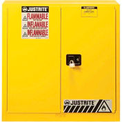 "Justrite 30 Gallon 2 Door, Manual, Flammable Cabinet, 36""W x 24""D x 35""H, Yellow"