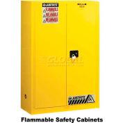 "Justrite 45 Gallon 2 Door, Manual, Flammable Cabinet, 43""W x 18""D x 65""H, Gray"