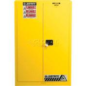 "Justrite 60 Gallon 2 Door, Manual, Paint & Ink Cabinet, 43""W x 18""D x 65""H, Yellow"