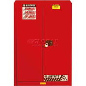 "Justrite 45 Gallon 2 Door, Self-Close, Flammable Cabinet, 43""W x 18""D x 65""H, Red"
