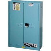 "Justrite 45 Gallon 2 Door, Self-Close, Acid Corrosive Cabinet, 43""W x 18""D x 65""H, Blue"
