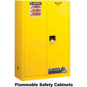 "Justrite 45 Gallon 2 Door, Self-Close, Flammable Cabinet, 43""W x 18""D x 35""H, Gray"