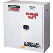 "Justrite 45 Gallon 2 Door, Self-Close, Flammable Waste Cabinet, 43""W x 18""D x 65""H, White"
