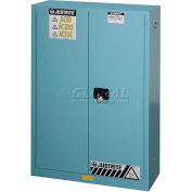 "Justrite 45 Gallon 1 Sliding Door, Self-Close, Acid Corrosive Cabinet, 43""W x 18""D x 65""H, Blue"