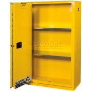 "Justrite 45 Gallon 1 Sliding Door, Self-Close, Flammable Cabinet, 43""W x 18""D x 65""H, White"