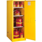 "Justrite 72 Gallon 2 Door, Manual, Slimline, Flammable Cabinet, 23-1/4""W x 34""D x 65""H, Yellow"