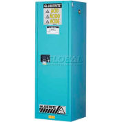 "Justrite 54 Gal. 1 Door, Self-Close, Slimline, Acid Corrosive Cabinet, 23-1/4""W x 34""D x 65""H, Blue"