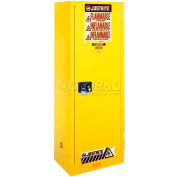 "Justrite 54 Gallon 1 Door, Self-Close, Slimline, Flammable Cabinet, 23-1/4""W x 34""D x 65""H, Gray"