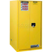 "Justrite 96 Gallon 2 Door, Manual, Paint & Ink Cabinet, 34""W x 34""D x 65""H, Yellow"