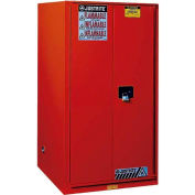 "Justrite 60 Gallon 2 Door, Self-Close, Flammable Cabinet, 34""W x 34""D x 65""H, Red"