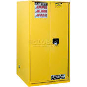 "Justrite 60 Gallon 1 Sliding Door, Self-Close, Flammable Cabinet , 34""W x 34""D x 65""H, Yellow"