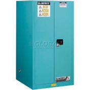 "Justrite 60 Gallon 1 Sliding Door, Self-Close, Acid Corrosive Cabinet, 34""W x 34""D x 65""H, Blue"