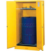 "Justrite 1-55 Gal. Drum, Manual, Flammable Cabinet, Incl. Drum Rollers, 34""W x 34""D x 65""H, Yellow"