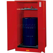 "Justrite 1-55 Gal. Drum, Self-Close, Flammable Cabinet, Incl. Drum Rollers, 34""W x 34""D x 65""H, Red"
