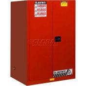 "Justrite 90 Gallon 2 Door, Self-Close, Flammable Cabinet , 43""W x 34""D x 65""H, Red"