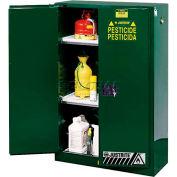 "Justrite 90 Gallon 2 Door, Self-Close, Pesticide Cabinet, 43""W x 34""D x 65""H, Green"