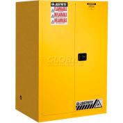 "Justrite 90 Gallon 2 Door, Self-Close, Flammable Cabinet , 43""W x 34""D x 65""H, White"