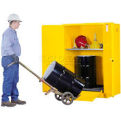 Justrite® Drum Cabinet 60 Gal. Capacity Vertical Manual Close Acid Corrosive W/ Drum Rollers