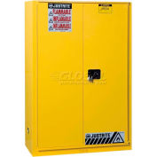 "Justrite 90 Gallon 1 Sliding Door, Self-Close, Flammable Cabinet , 43""W x 34""D x 65""H, Yellow"