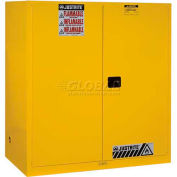 "Justrite 2-55 Gal. Drum, Self-Close, Flammable Cabinet, Incl. Drum Support, 59""Wx34""Dx65""H,Yellow"