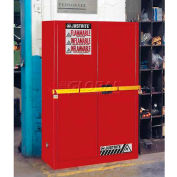 "Justrite 45 Gallon 2 Door, Self-Close, High Security Flammable Cabinet, 43""W x 18""D x 65""H, Red"