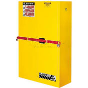 "Justrite 45 Gallon 2 Door, Self-Close, High Security Flammable Cabinet, 43""W x 18""D x 65""H, Yellow"