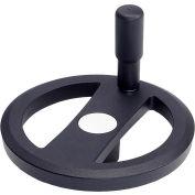 "JW Winco - 16MRX3K/R - Alum. Flat-Faced Spoked Handwheel w/ Rev Handle - 5.51"" D-16mm Bore - Black"