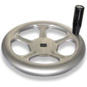 "JW Winco - 4VL81/D - Stainless Spoked Handwheel w/ Rev Handle - 6.30"" Dia x .500"" Square Bore"