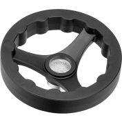 "JW Winco - 6359020 - Plastic 3 Spoked Handwheel w/o Handle - 7.87"" Dia x .24"" Pilot Hole"