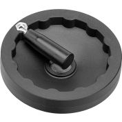 "JW Winco - 6381015 - Plastic Solid Disk Handwheel w/ Retractable Handle - 6.30"" D x .24"" Pilot Hole"