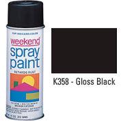 Krylon Industrial Weekend Economy Paint Gloss Black - K358 - Pkg Qty 6