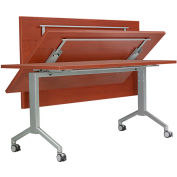 """RightAngle R-Style Flip Table with Casters 30"""" x 60"""", Chocolate Flame Top w/Silver Base"""