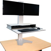 Hover Helium Heavy Duty Sit-Stand Workstation - Dual Monitor Mount - Silver/White