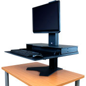 Hover Helium Standard Sit-Stand Workstation - Single Monitor Mount - Silver/White