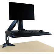 Helium Jr Sit-Stand Workstation - Clamp Base - Single Monitor Mount - Black