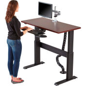 """Rightangle™ Eficiente Lt Electric Height Adjustable Desk 24""""X60"""", Mahogany W/Silver Base"""