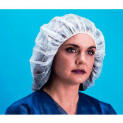 "Lightweight Polypropylene Bouffant Cap, 100% Latex Free, White, 19"", 100/Bag, 10 Bags/Case"