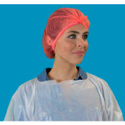 "Pleated Polypropylene Bouffant Cap, 100% Latex Free, Red, 21"", 100/Bag, 10 Bags/Case"