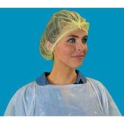 "Pleated Polypropylene Bouffant Cap, 100% Latex Free, Yellow, 21"", 100/Bag, 10 Bags/Case"