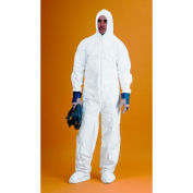 KeyGuard® Coverall/Bunny Suit, Attached Hood & Boots, Zipper Front, White, L, 25/Case