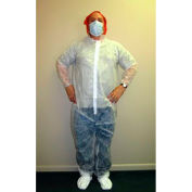 Polypropylene Coverall, Elastic Wrists & Ankles, Zipper Front, Single Collar, White, XL, 25/Case