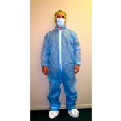 HD SMS Coverall, Elastic Wrists & Ankles, Zipper Front, Single Collar, Blue, 4XL, 25/Case