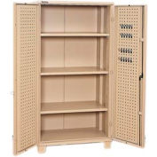 "Kennedy Storage Cabinet 10350TX 39-1/4""W x 23-1/4""D x 76""H Welded with Pegboard- Tan"
