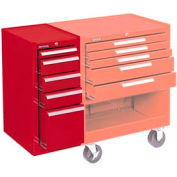 "Kennedy® 205XR K2000 Series 13-5/8""W X 20""D X 29""H 5 Drawer Red Hang-On Side Cabinet"