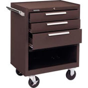 "Kennedy® 273B 27"" 3-Drawer Roller Cabinet w/ Friction Slides - Brown"