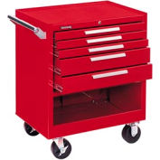 "Kennedy® 295XR 29"" 5-Drawer Roller Cabinet w/ Friction Slides - Red"